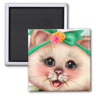 ROLLER CAT CUTE Square Magnet 2 Inch