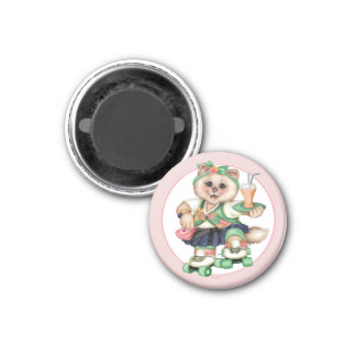 ROLLER CAT CUTE Square Magnet Small, 1¼ inch