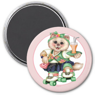 ROLLER CAT CUTE Square Magnet Small, 3 Inch