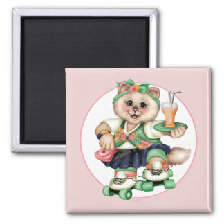 ROLLER CAT CUTE Square Magnet Square, 2 Inch