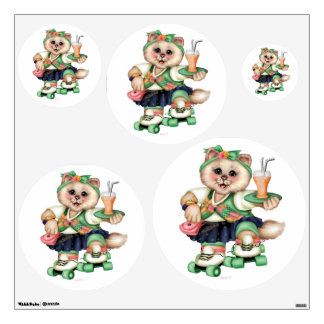 ROLLER CAT CUTE Wall Decal Circle 30 X 30 Multiple