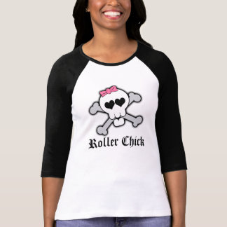 Roller Chick,Pink Skull and Crossbones with Hearts T Shirts