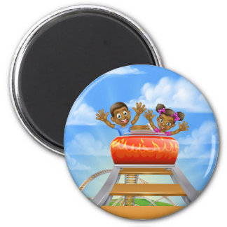 Roller Coaster Cartoon 2 Inch Round Magnet