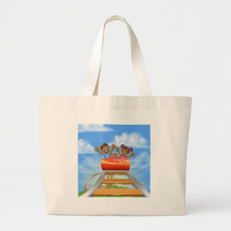 Roller Coaster Cartoon Large Tote Bag