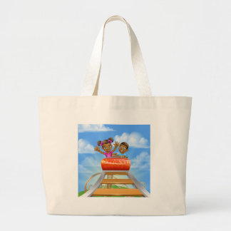 Roller Coaster Fair Theme Park Large Tote Bag