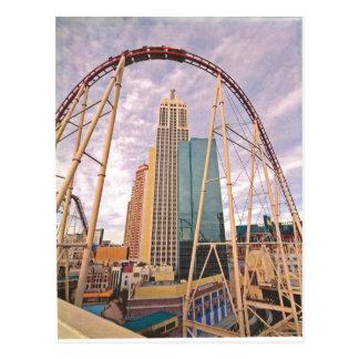 roller coaster NYNY Postcard