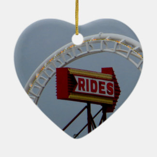 Roller coasters and rides ceramic heart ornament
