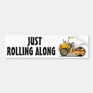 Roller Construction Bumper Sticker Rolling