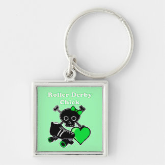 Roller Derby Chick (Green) Keychain