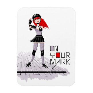"""Roller Derby Girl """"On Your Mark"""" Magnet"""