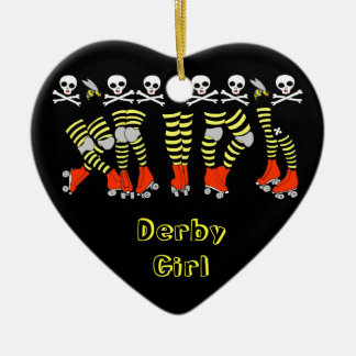 Roller Derby Heart Christmas Ornament