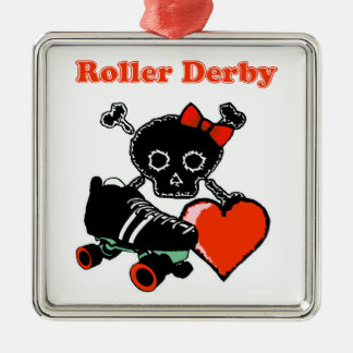 Roller Derby Heart (Red) Metal Ornament