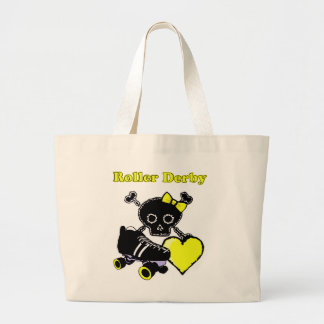 Roller Derby Heart (Yellow) Large Tote Bag