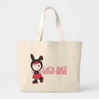 Roller Derby - Let's Roll Large Tote Bag