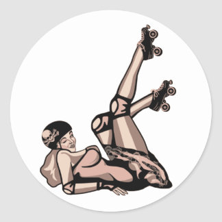 roller derby pin up diva classic round sticker