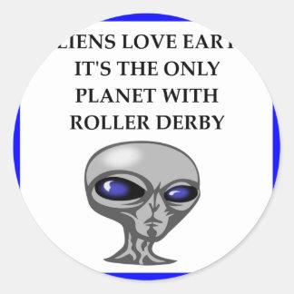 roller derby round sticker