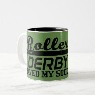 Roller Derby Saved my Soul, Derby Girl Two-Tone Coffee Mug