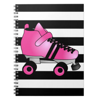 Roller Derby Skates Pink and Black Spiral Notebook