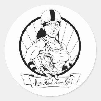 Roller Girl (B&W) Classic Round Sticker