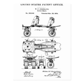 Roller Skate Patent  Paper Items Postcard