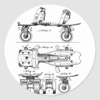 Roller Skate Patent  Paper Items Round Sticker