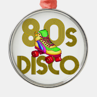 Roller Skater 80s Silver-Colored Round Ornament