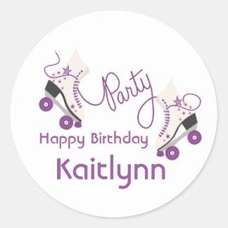 Roller Skates Birthday Party - Purple Round Sticker