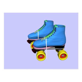 roller skates blue postcard
