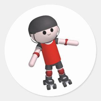 roller-skates classic round sticker