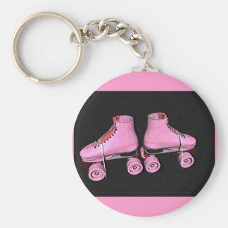 Roller skates pink basic round button keychain