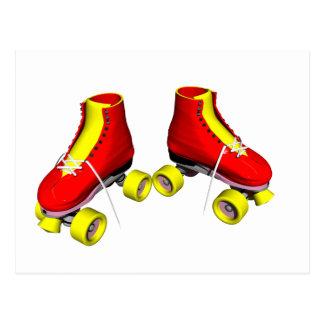 roller skates red postcard