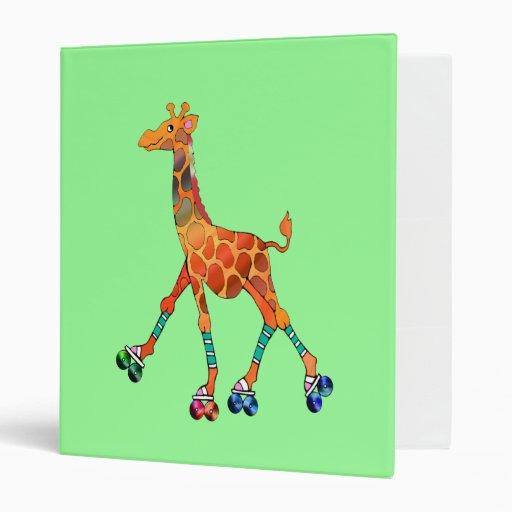 Roller Skating Giraffe Vinyl Binders