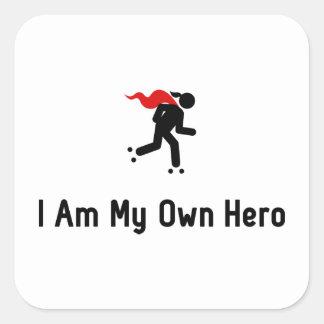 Roller Skating Hero Square Sticker