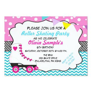 Roller Skating Party Chevron Birthday Invitation