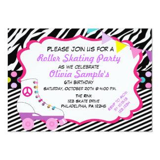 Roller Skating Party Zebra Birthday Invitation