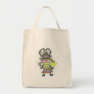 Roller skating shopping turtle lady tote bag