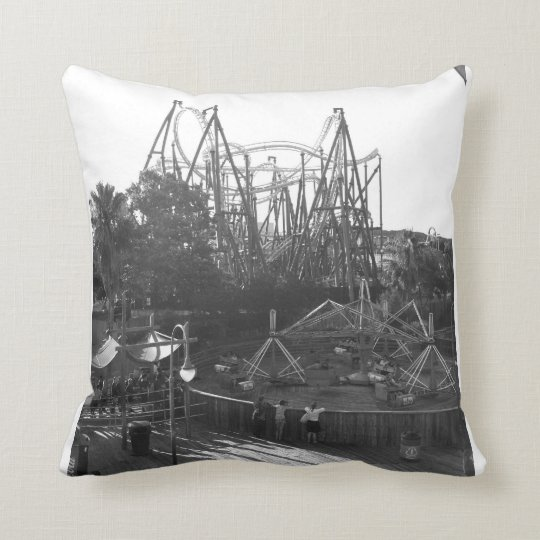 Rollercoaster Black and White Throw Pillow
