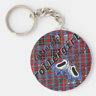 rollergirl plaid attack keychain