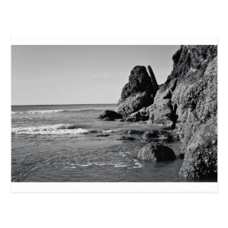Rolling Beach Black and White Postcard