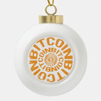 Rolling Bitcoin - Orange Ceramic Ball Christmas Ornament
