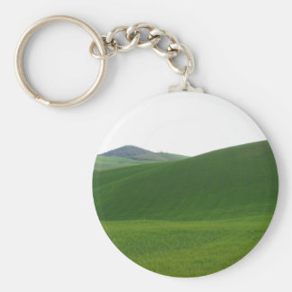 Rolling green hills in Tuscany, Italy Basic Round Button Keychain