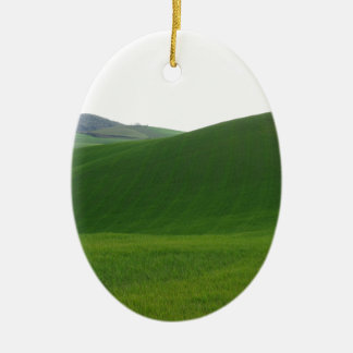 Rolling green hills in Tuscany, Italy Ceramic Oval Ornament