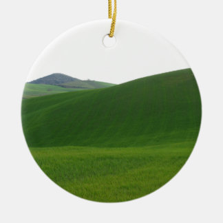 Rolling green hills in Tuscany, Italy Round Ceramic Ornament
