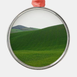 Rolling green hills in Tuscany, Italy Silver-Colored Round Ornament