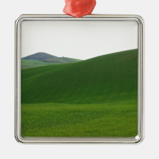 Rolling green hills in Tuscany, Italy Silver-Colored Square Ornament