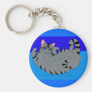 Rolling Kitty on Blue Keychain
