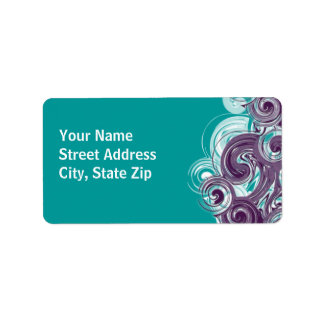 Rolling Purple Side Border Personalized Address Labels