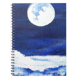 Rolling Sea Waves Under A Full Moon Ocean Notebook