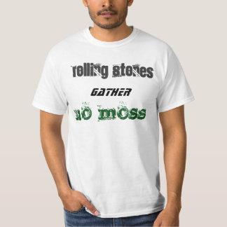 Rolling stones gather no moss white basic t-shirt