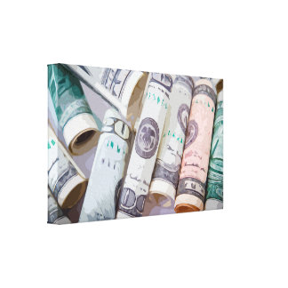 Rolls of Cash Canvas with Simple Design